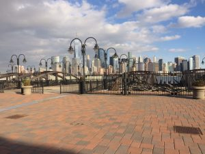 View of the NYC skyline from Liberty Promenade in Jersey City, NJ